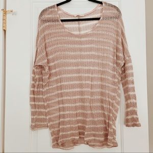 Lush Lightweight Pink and White Striped Sweater